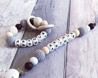 Crochet dummy clip to match teether / 'Arthur' Toy clip / personalised / Fiddle beads / Chewelery / Pacifier / Baby shower gift /