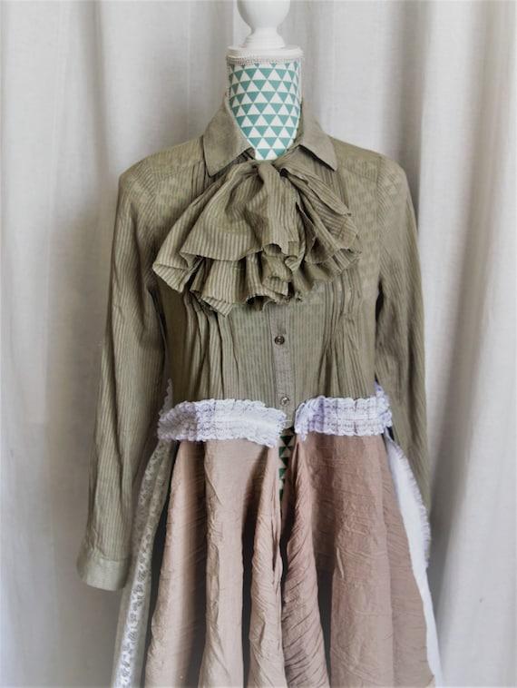 Robe chemise kaki et vieux rose dentelle lin et perle for Chambre kaki et rose