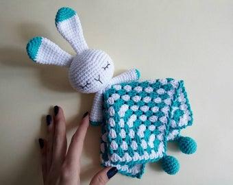 Crochet Baby Bunny Rabbit Comforter, amigurumi baby handmade toy, safety for baby
