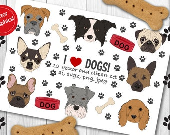 Dogs clipart set, dogs vector set, pug clipart and vectors, french bulldog clipart and vectors, chihuahua clipart and vectors, boxer clipart