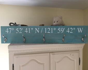 "3ft (36"") Custom Coat Rack Hanger GPS Coordinates - Longitude and Latitude Sign - Housewarming - Entryway Sign - Wedding Gift - Rustic Home"