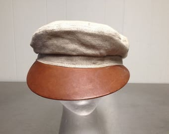 Vintage Stetson Country Military Style Cap Size 7 1/2 Leather Brim