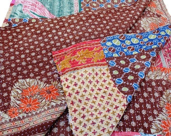 Indian Vintage Kantha Quilt, Kantha blanket, Patchwork throw, Reversible quilt and Indian tapestry twin size