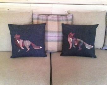 Appliqued Fox Cushion
