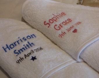 Personalised baby hooded towel - personalised new baby gift