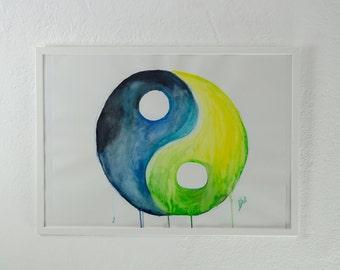 Original watercolor, painting, YingYang