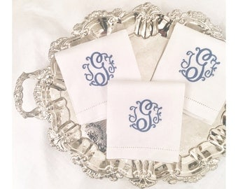 Suzette Monogram Hand Towel, White Linen
