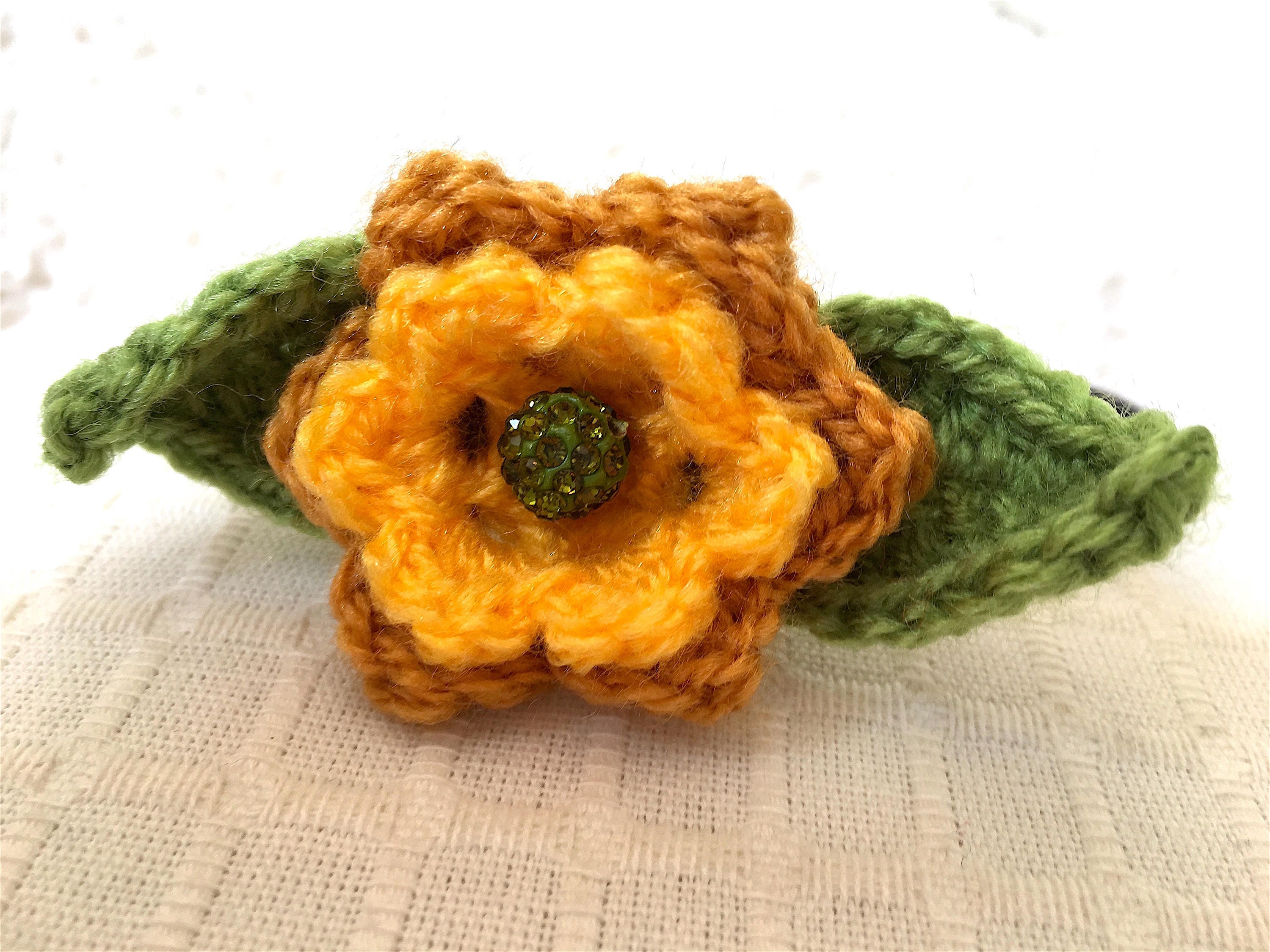 Yellow Flower Headband Crocheted Onto A Solid Acrylic Band Pretty