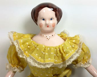 Ruth Gibbs Doll with Molded Necklace/ 12 inch Vintage Ruth Gibbs Doll/ China Doll/ Porcelain Doll/ 1940s Ruth Gibbs Doll