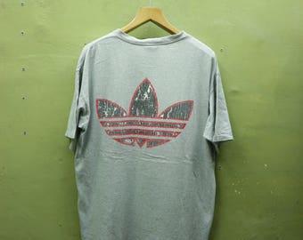 Vintage Adidas Trefoil Shirt Big Logo Sportswear Streetwear Top Tee T Shirt Made In USA Size L