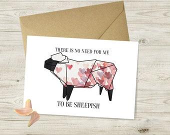 No Need to be Sheepish Valentines Day Card