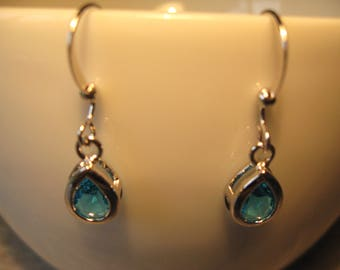 Aqua Crystal Earrings | Womens Blue Teardrop Dangle Drop Earrings Bridal Bridesmaid Small Simple Dainty Elegant Jewelry Jewellery Gift