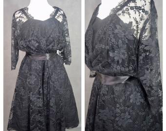 Vintage 1940s Dress | 1940s Black Lace Party Dress | Gertrude Carol of Knightsbridge Dress | Size 16 Vintage Dress | Plus Size Vintage Dress