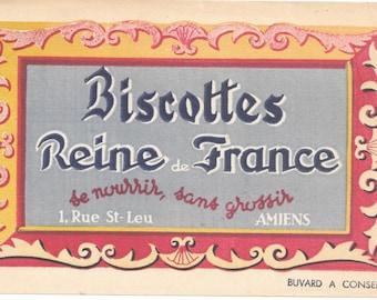 French Blotter Paper, Biscottes Reine de France, Amiens, 1930s Decorative Ephemera