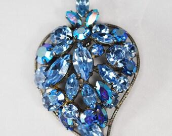 Vintage Regency Blue AB Rhinestone Brooch