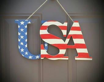 USA Patriotic Wood Sign