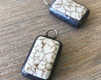 White howlite hand soldered pendant charm-jewelry supplies-DIY-Artisan supplies