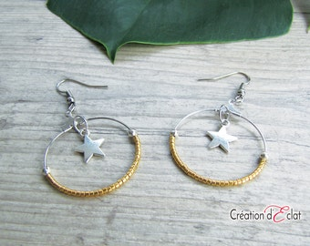 Earrings Creole star and Miyuki beads gold 24 k plated