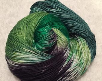 Hand dyed yarn Silk and Merino 437 yards