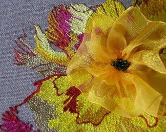 Embroidery kit, Femme fleur