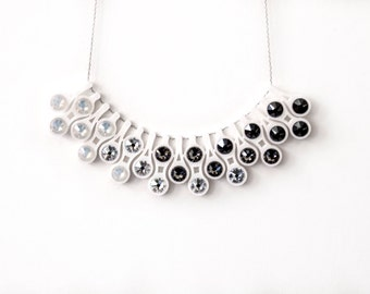 Ombre Bead Necklace | White Ombre Necklace | Dewdrop Statement Necklace in Gradient White