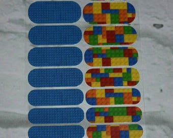 Lego inspired jamberry NAS nail wraps, lego nails, legoland, lego birthdays, bricks