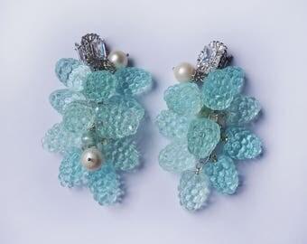 Light-blue raspberries earrings