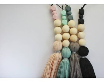 NORDIC Wooden Wood Garland with Tassel - Guirnalda - Guirlande - Girlanden