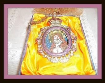 "Virgin Mary Russian Orthodox Ornament Medallion Purple Enamel  & Crystals  3"" X 2"""