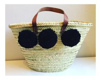 SQUID INK black pom pom straw basket