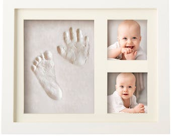 BABY HANDPRINT Kit and Footprint Frame Kit - Baby Keepsake Preserves Priceless Memories - Non Toxic and Safe Clay - Quality Wood Frame