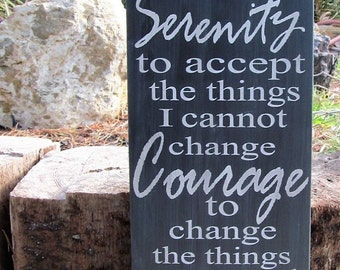 Serenity Prayer Wood Sign,Black Granite/Slate Grey, Words in light Gray. Beautiful Clear Finish, Very Unique Look! Ready to hang,Ideal Gift!