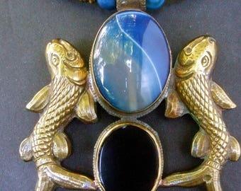 Exotic Artisan Glass Stone Fish Theme Statement Necklace