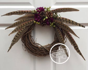 Small Wreath, 10 inch Grapevine Wreath, Pheasant Feather Wreath, Northwoods Wreath, Summer Wreath, Wreath Street Floral, Door Wreath
