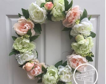 Spring Wreath, Peony Wreath, Everyday Wreath, Summer Wreath, Front Door Wreath, Grapevine Wreath, Wreath Street Floral, Peach Green Wreath