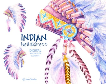 Indian Headdress Hat Watercolor Clipart Digital Elements Boho Holiday invitation Greetings Diy card