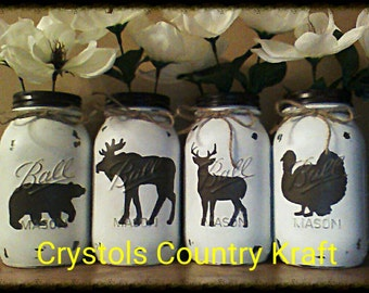 Rustic wildlife animal printed vases, quart size mason jars, deer, bear,moose and turkey.