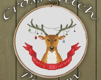 Christmas cross stitch pattern pdf christmas deer cross stitch pattern merry christmas cross stitch pattern holiday cross stitch pattern pdf