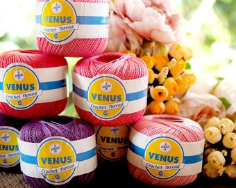 Mercerized Cotton 100% Yarn l Crochet Thread #20 l Venus Cotton Lace Yarn l 50 grams