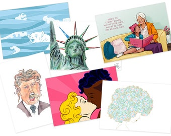 FREE - Political Postcard Set of 6 - only pay cost of postage - Feminism, Environment, Equality, Human Rights