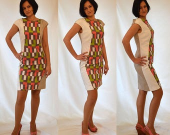 SALE Asymmetrical, white, ivory, pink, brown, green, beige, colorful, pencil dress Size UK 8, 10, 12, 14/ US 4, 6, 8, 10