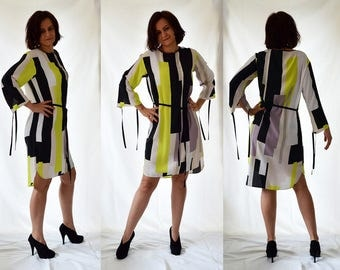 Shirt dress, tunic, striped, comfortable, yellow, black, white Size UK 10-12,  14-16 /  US 6-8, 10-12