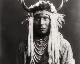 Native American Edward Curtis Head Carry Photo Art Print Picture A4