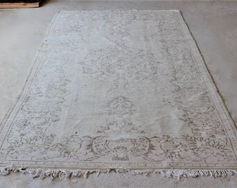 5'4''x 9'6'' Large Area Rug , Turkish Oushak Carpet , Handknotted Vintage Rug