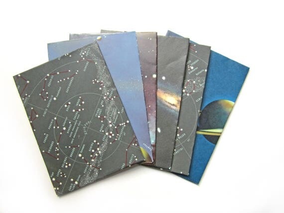 Set of 8 galaxy themed envelopes (Suitable for A5 cards)