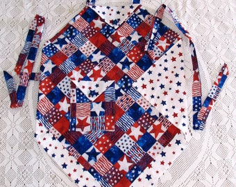 Patriotic Apron Fourth of July Apron Memorial Day Apron Flag Day Apron