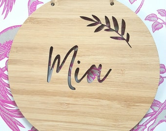 Personalised Wooden Wall / Door Hanging - Fern 14cm or 19.5cm-wall hanging-wall art-wooden sign-custom name-kids gift-baby gift-lasercut