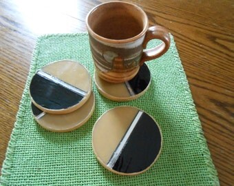 SALE! Mosaic coasters, brown black round,stained glass mosaic, lovely useful gift
