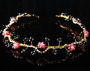 Hair Vine Crown Bridal Cristal Hair Vine Cristal Hair Wreath Bridal Crown Wedding Tiara Red And Black Hair Vine Bridal  Hair Jewelry