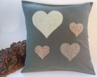 Green Tartan and Tweed heart Cushion
